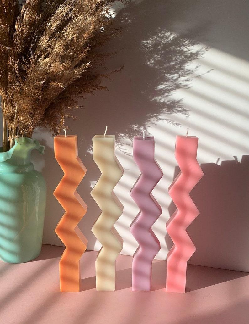 Soy Wax Zig Zag Candle / coloured candle / vegan candle / image 0