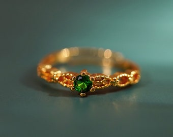 Dainty Emerald Stone Ring   Vintage Ring   18K Gold Sterling Silver   Minimalist Ring   Christmas Gift   May Birthstone   Gift for Her