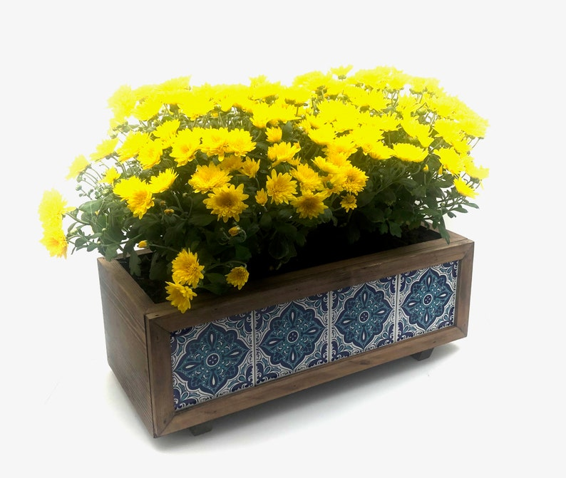 Wooden Planter with Mexican TileIndoor Outdoor Planter BoxHome and Garden DecorationFlower PotCustom