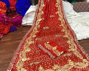 Cotton Bandhani Saree Black with Red border CB3