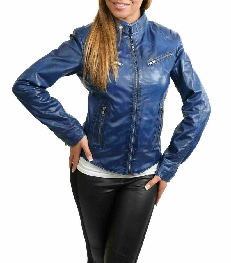 Blue biker leather jacket women/'s slim fit cropped style wax real sheepskin leather distressed coat