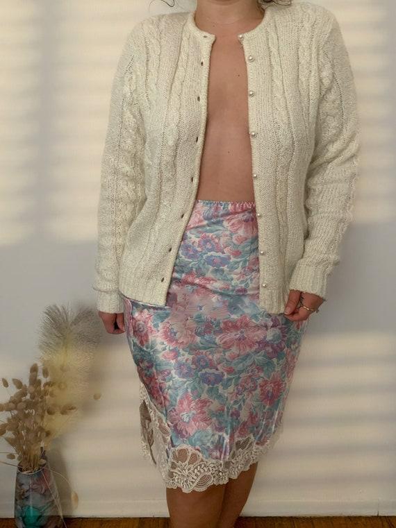 Vintage Oscar De La Renta Floral Slip Skirt
