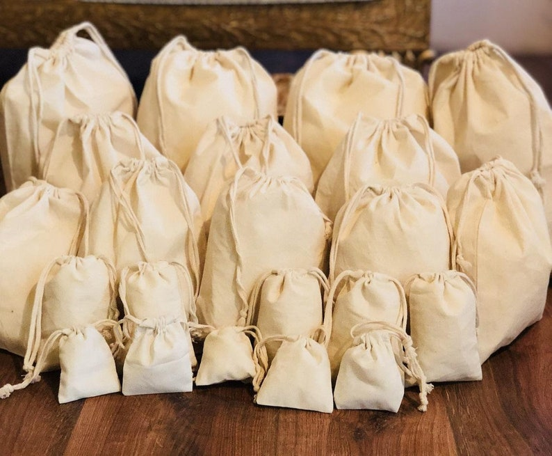 20.32 x 25.40 cms Cotton Muslin Bags 8x10 Inches Poly Cotton Double Drawstring Premium Quality Eco Friendly Reusable Natural Muslin Bags