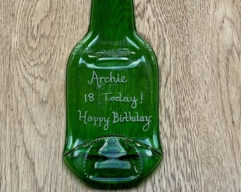 Personalised 18th Birthday Beer Bottle | Officially an Adult | Boy | 18 Years old | Wall Hanging | Etched | Slumped Stella Artois Bottle