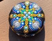 Mandala stone painted rocks, meditation rocks, dot art rocks, desk accessories. Paper weight. Gift for her, yoga lover gift,
