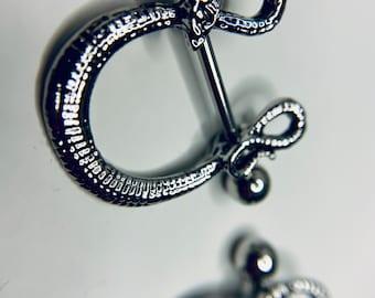Snake Charmer Nipple Piercing, Serpent Snake Nipple Shield, Stainless Steel Nipple Barbell Pair