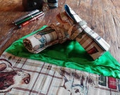 Pen roll countryside hunting tapestry fabric, fountain pen case, duck pheasant deer, fountainpens and art supplies