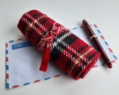 Pen roll red checked wool blend and handkerchief, fountain pen case, blanket, fountainpens pencils and art supplies