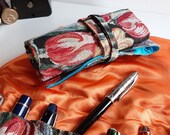 Pen roll tulips gobelin fabric, fountain pen case, colourful tulips on black background, handmade in the Netherlands