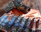 Pen roll woodland gobelin fabric, fountain pen case with autumn colours, handmade in the Netherlands, for pens pencils and art supplies