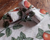 Pen roll oranges blossom gobelin fabric, fountain pen case with orange or brown satin lining, handmade in the Netherlands