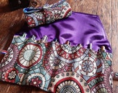 Pen roll mandala geometric gobelin fabric with smooth blue or purple satin lining, fountain pen roll up case of sturdy tapestry fabric