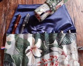 Pen roll magnolia and tropical flowers gobelin fabric, fountain pen case of sturdy tapestry fabric with turquoise or dark blue satin lining