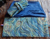 Pen roll Van Gogh starry night gobelin fabric, fountain pen case of sturdy tapestry fabric in blue, pen wrap handmade in the Netherlands