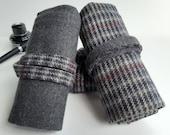 Pen roll charcoal grey wool blend, fountain pen case, fountainpens make-up and art supplies, handmade, Dutch
