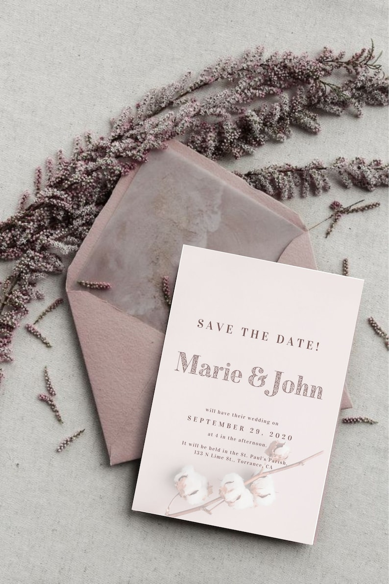 Canva Template Wedding Invitation Card Wedding Save The Date CANVA|Wedding Template Instant Download Template COTTON Cotton Wedding
