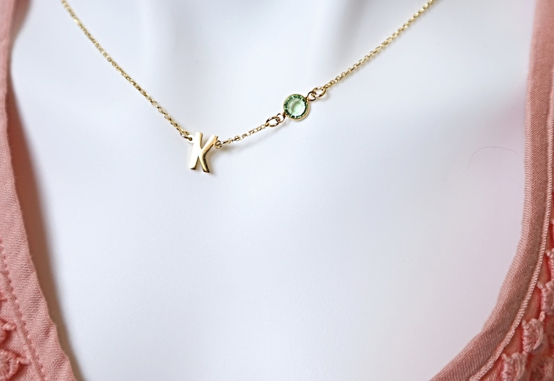 Birthstone Initial Necklace Initial Letter with Birthstone Necklace Silver Gold Christmas Gift Wife Gift Birthday Gift for her