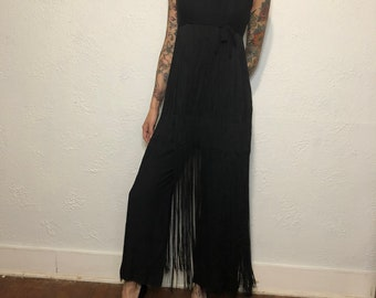 size small 60s Black Lace Palazzo Pant Jumpsuit with Fringe Trimmed Satin Neck Sash
