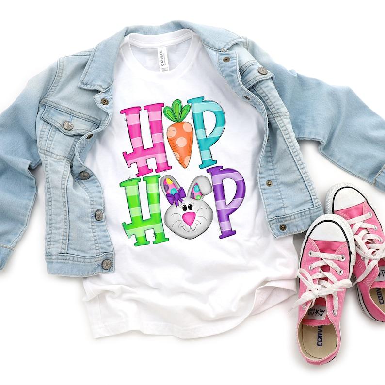Girls Kids Heavy Cotton T Shirt Happy Easter Hip Hop Bunny