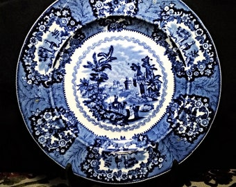 Antique Flow Blue Petrus Regout 7.5 bowl Atlanta pattern