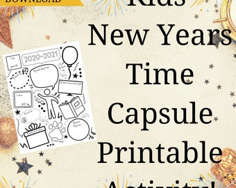 New Year's Kids Time Capsule- Printable New Year's Eve Fun - New Years Printable Activity - 2021 Kids Family Fun- INSTANT DOWNLOAD