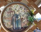Succulent decor, Mason jar metal sign