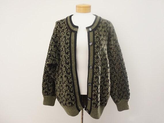 Vintage Shetland Wool Cardigan Sweater | Oversized