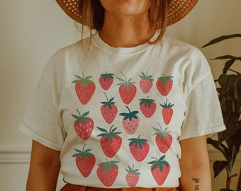 Strawberry Shirt Strawberry Clothes Strawberry Top Garden Shirt Aesthetic Clothing Cottagecore Clothes Botanical Shirt Strawberry Print