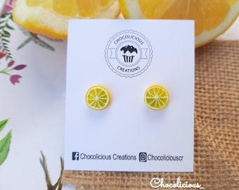Lemons stud earrings, Polymer clay earrings, Fruit earrings , Summer earrings