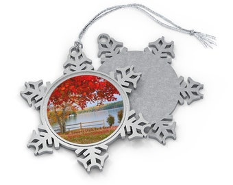 Mt. Sunapee State Park Beach Pewter Snowflake Ornament - New Hampshire Christmas Holiday Gift Idea
