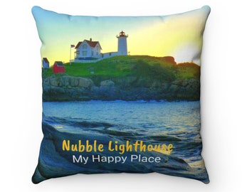 Sunrise at Nubble Lighthouse Decorative Pillow - York Beach, Maine Lighthouse Throw Pillow