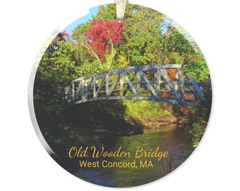 Glass Ornament of Old Wooden Bridge, West Concord, MA