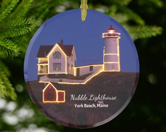 Nubble Lighthouse Glass Ornament - Maine Gift, Christmas Decorating Ideas