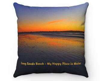 Long Sands Beach Sunrise Double-Sided Print Throw Pillow - York Beach, Maine Decorative Pillow