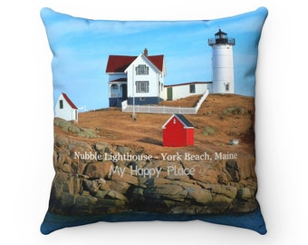 Nubble Lighthouse Spun Polyester Square Pillow - Summer and Winter Scenes