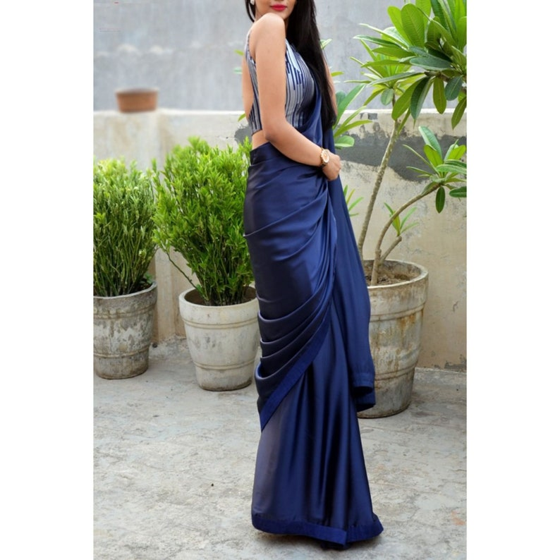 Navy Blue Beautiful Bollywood stain Plain Designer Saree With Unstitched Digital print Blouse For Women Wedding Wear Party Wear Festive Sari