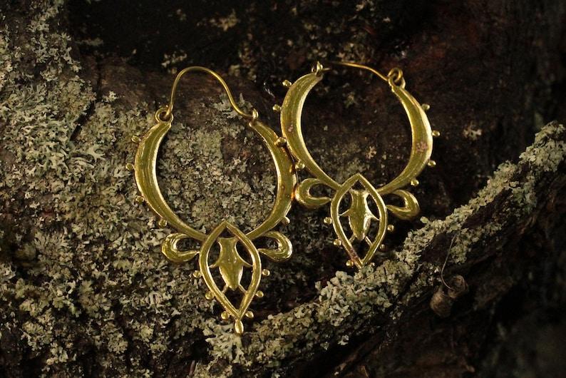 Festival Earrings Golden Hoops Bohojewellery Elegant Geometrical Jewellery Nickelfree Brassjewellery Golden GEOMETRIC Flower Earrings