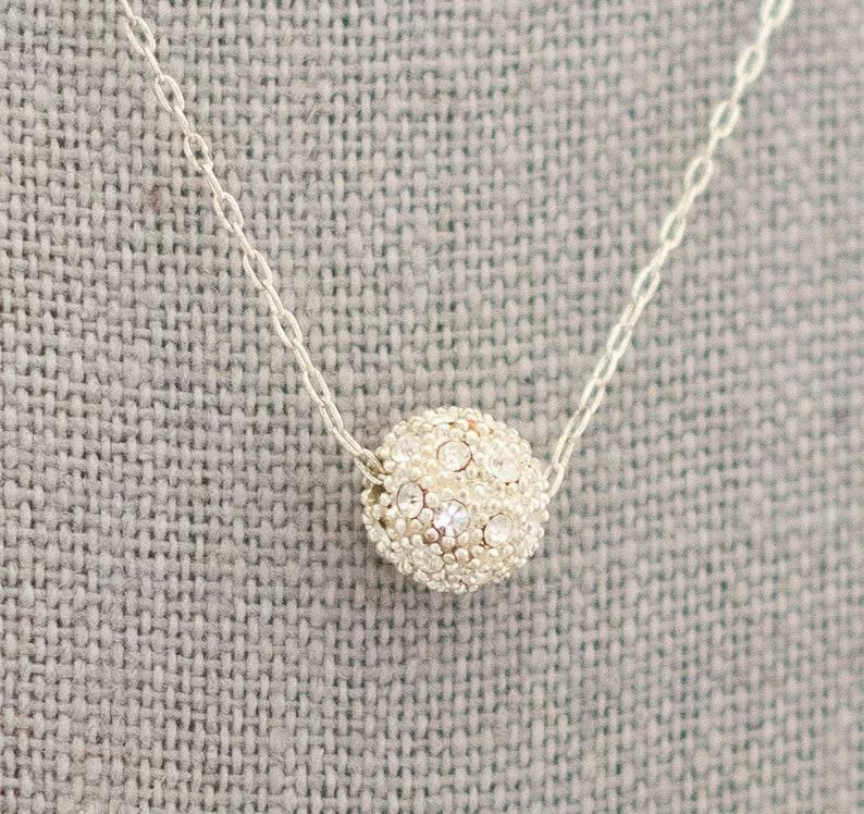 Cute Necklace CI1 Elegant Necklace Rhinestone Necklace Ball Necklace 18 Inch Minimalist Necklace Beautiful Necklace Minimal Necklace