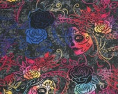 Day of the Dead Rainbow Woman, Sugar Skulls, Day of the Dead Novelty Cotton Fabric by Hi Fashion Fabrics