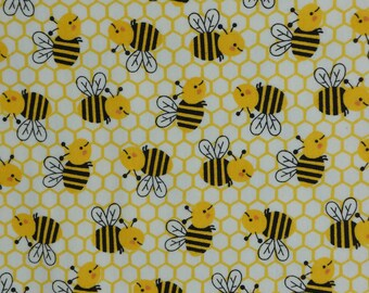 By the yard All Over Bees 100/% Cotton Flannel Flannel Fabric