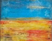 Farm Inspired Harvest Landscape Original Encaustic Framed Painting Ready to Hang