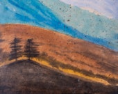 Appalachia Inspired Valley Landscape Original Encaustic Framed Painting Ready to Hang