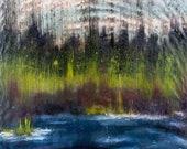 Fishing in the River Alaska Inspired Original Encaustic Wall Art Ready to Hang