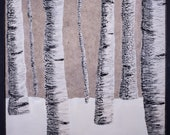 Winter Birch Trees Original Encaustic Painting Wall Art Ready to Hang Framed