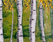 Birch Trees Landscape Original Encaustic Wall Art Painting Ready to Hang Office Living Room Fireplace Mantle