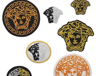 Medusa Golden 10 CM Embroidered Iron on Sew on PatchBadge For Clothes
