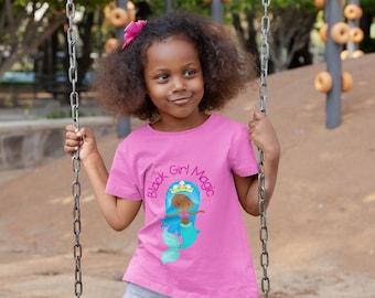 Black Girl Magic Kids Tee, Little Girl Tee, Mermaid Tee, Children's Tee