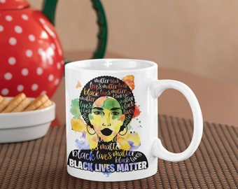 Black Lives Matter woman Mug, BLM Mug, Black Girl Magic Mug, Black Crown Magic Mug
