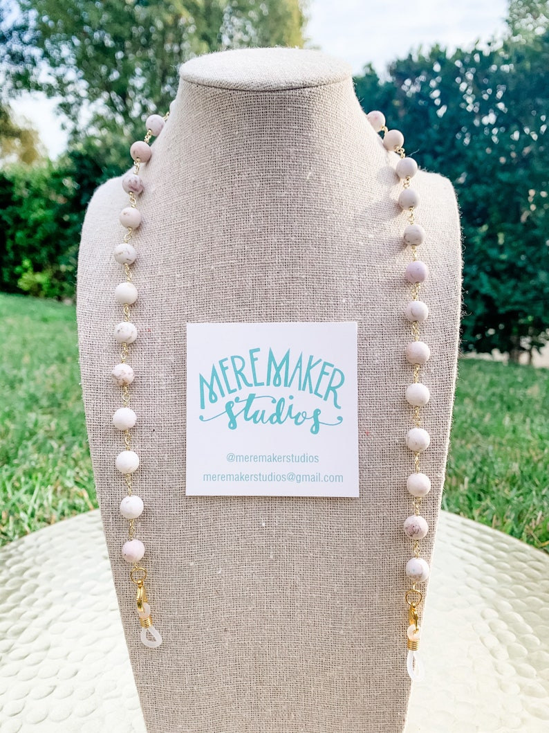White Turquoise Face Mask Chain