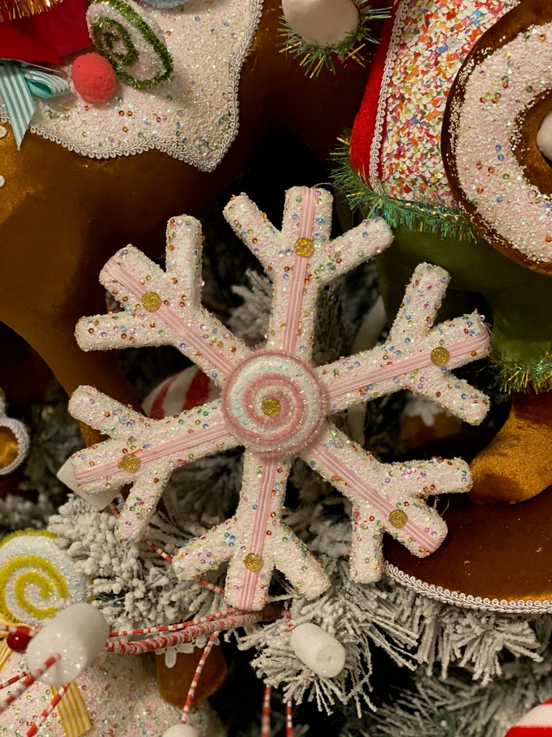 10 Candy sprinkles snowflake ornament